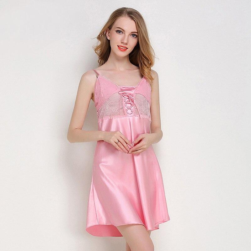 e65650c5f295 Comprar Sexy Vestido de Noite De Cetim de Seda Camisola de Renda Tentação  Nightdress Feminino Suave Nightie Sleepwear Lingerie Vestido De Noite Para  As ...