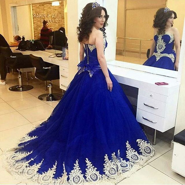 Ball Gown Royal Blue Wedding Dresses Appliques Lace Wedding Gowns ...