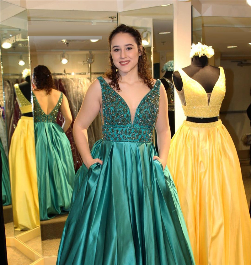 Dark Green Satin Long   Prom     Dresses   2019 Shining Beading Crystal Formal Evening   Dress   Party For Women With Pocket robe de soiree
