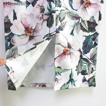 Hermicci 2018 Summer Style Pencil Skirt Women High Waist Green Skirts Vintage Elegant Bodycon Floral Print Midi Skirt 5