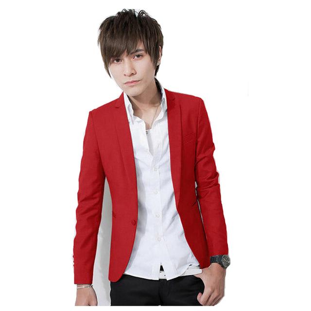 2017 Nuevo Llegan Los Hombres XL XXL XXXL Color Sólido Solo Botón Leisure Suit Corea Moda Slim Fit Casual Blazer Rojo Rosa Blanco azul