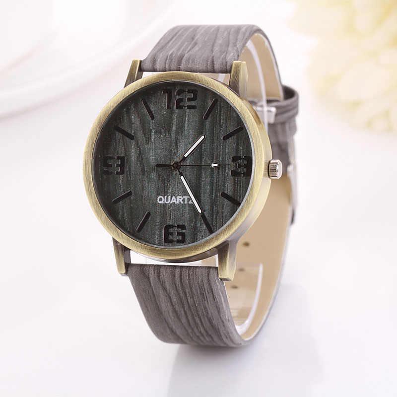 Reloj Vintage de grano de madera para mujer, Casual, de cuero Pu, relojes de cuarzo, Reloj de pulsera deportivo para hombre y mujer
