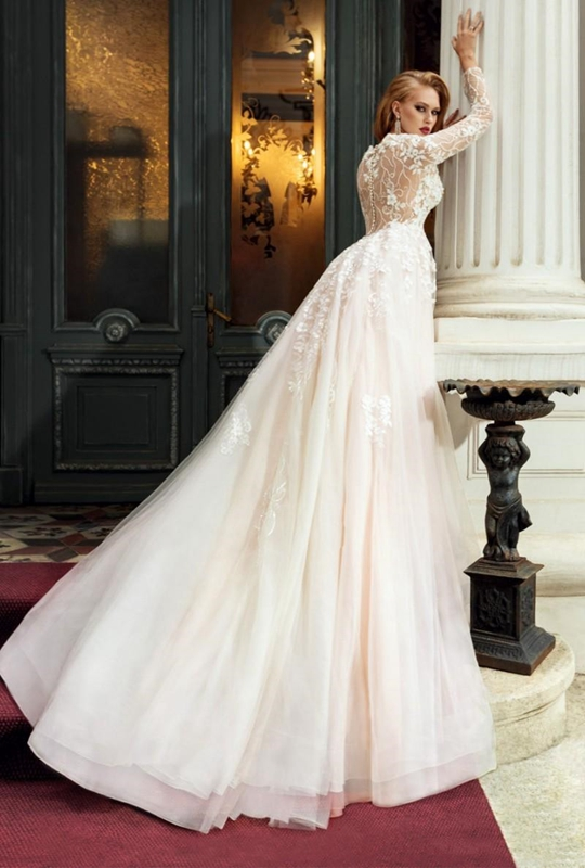 Illusion Wedding Dress Transparent  Buttons Back Lace Tulle Appliques Court Train A-line Sexy Full Sleeves Deep V-neck Gown