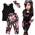 Retail 2016 Summer Girls baby Clothing Sets lovely T shirt+flower pattern pants+bow Headdress 3pcs set fashion girl kids Clothes