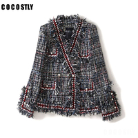 Runway Designer Tweed Jacket Women 2019 Elegant Double Pearl Buttons Tassel Plaid Tweed Coat Women Korean Fashion Short Outwear