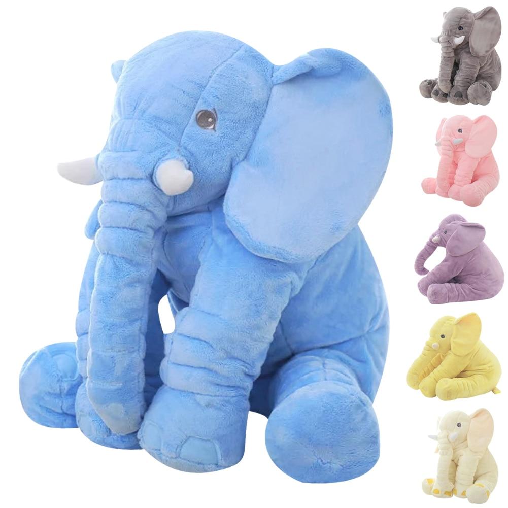 60cm Height Large Plush Elephant Doll Toy Soft Kids Sleeping Back Cushion Cute Stuffed Elephant Baby Accompany Doll Xmas Gift