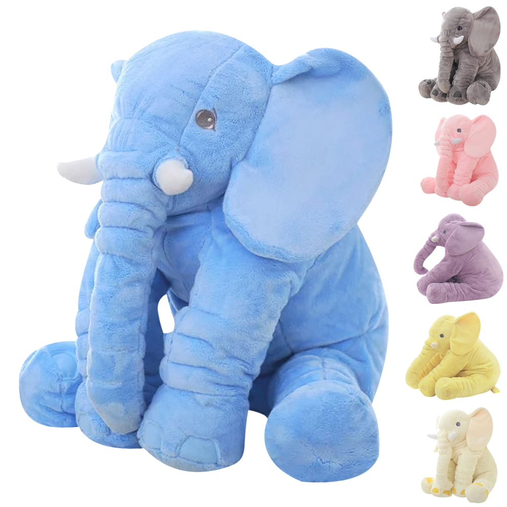 60cm Large Plush Elephant Doll Toy Super Soft Kids Sleeping Back Cushion Doll Cute Stuffed Elephant Lovely Baby Accompany Toy 23cm cute plush grey elephant toys dolls baby sleeping back pillow cushion soft stuffed elephant plush toys kids gift
