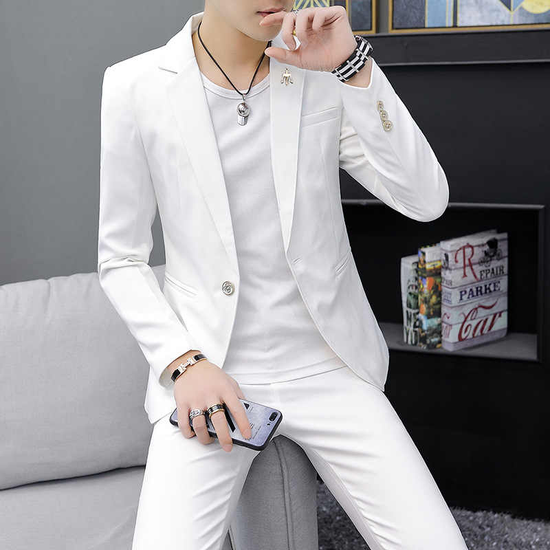 Men Clothing Men's Personality Suit Male Social Person Night Field Small Suit Set Trend Casual Two-piece Handsome Men's Clothing
