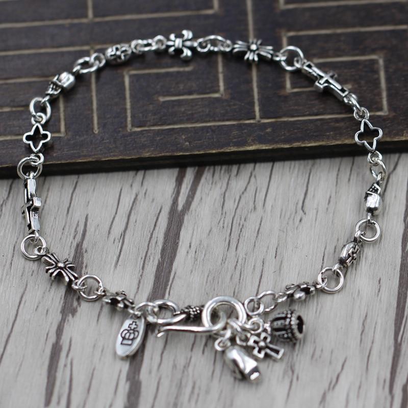 Thai Silver Retro Individuality Crosses Flower Multi Element Bracelet Punk Wind Couple Chain Sterling Silver 925