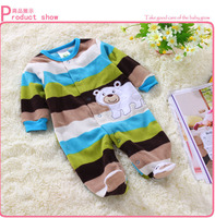 Newborn Clothes Polar Fleece Fabric Baby Boy Rompers Spring And Autumn Baby Bodysuits Blue Striped Bear