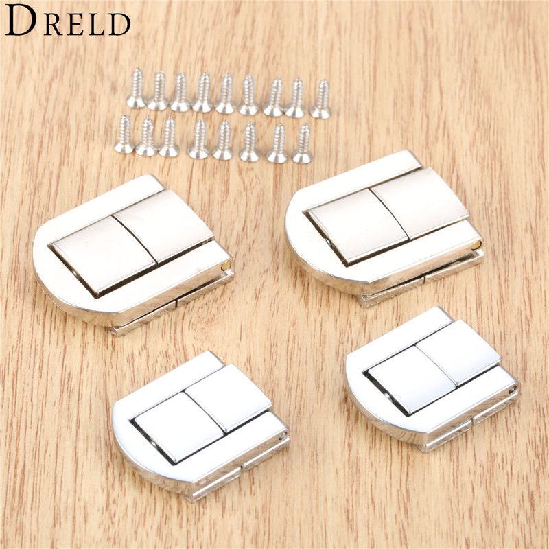 DRELD 2pcs Antique Box Hasps Alloy Lock Catch Latches For Jewelry Chest Box Suitcase Buckle Clip Clasp Vintage Silver Hardware
