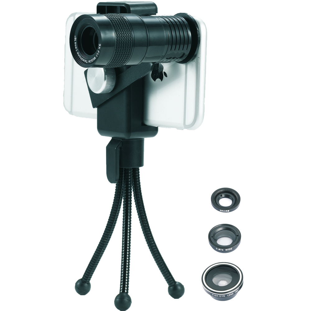 Zoom Optical Lens 4 in 1 Mobile Phone Telescope 9X Telephoto fish eye wide angle macro camera lens for iphone7 6 5 huawei lenovo 8