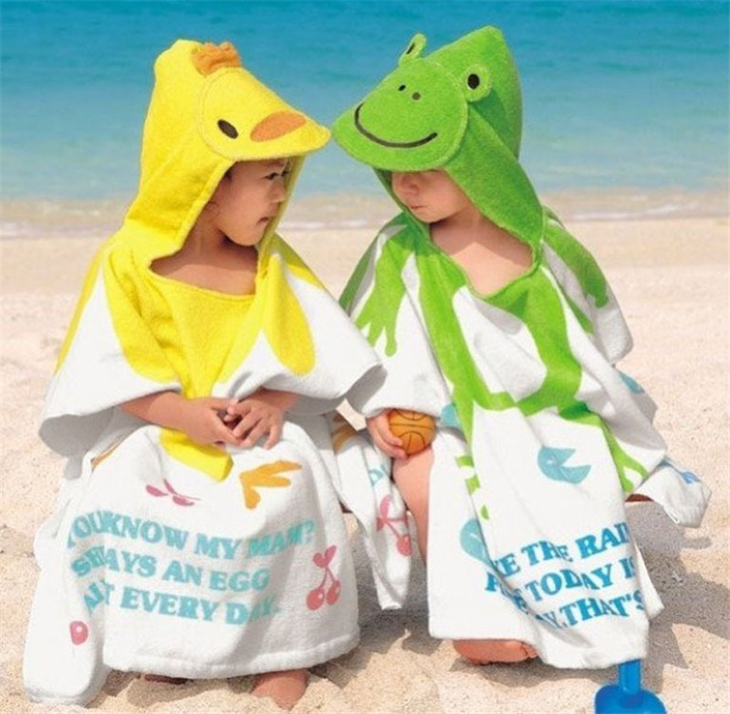 Hot sale 100% Cotton Baby Beach Gown Child Bathrobe Beach Towels Cloak Cape Infant Cartoon Animal Hooded Baby Bath Towel