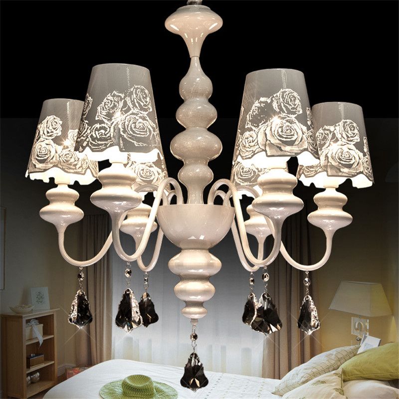 Post Modern Creative Roses Crystal Chandeliers Romantic Flowers Lampshades Bedrooms Living Rooms Restaurants Garden Iron Lamps