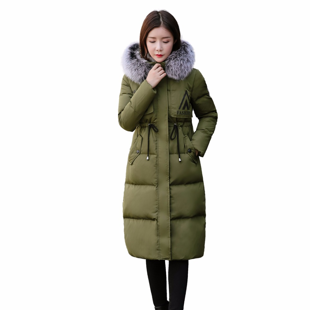 Winter Parkas For Women Duck Down Jacket With Large Natural Fox Fur Collar Hooded Slim Warm Thicken Overcoat Down Coat Women 2015 winter thicken warm woman down jacket tan fur collar coat parkas outerweat slim luxury brand mid long cloak 2xxl black