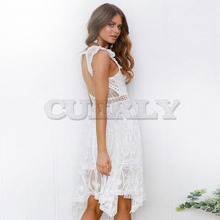 Cuerly Boho White Lace Dress Women Backless Hollow Out Sexy Party Dresses Elegant Solid V Neck Summer Dress Vestidos Female L8 цена и фото