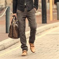 High Quality New Men S Fashion Winter Autumn Skinny Pants Men Solid Color Woolen Suit Pants
