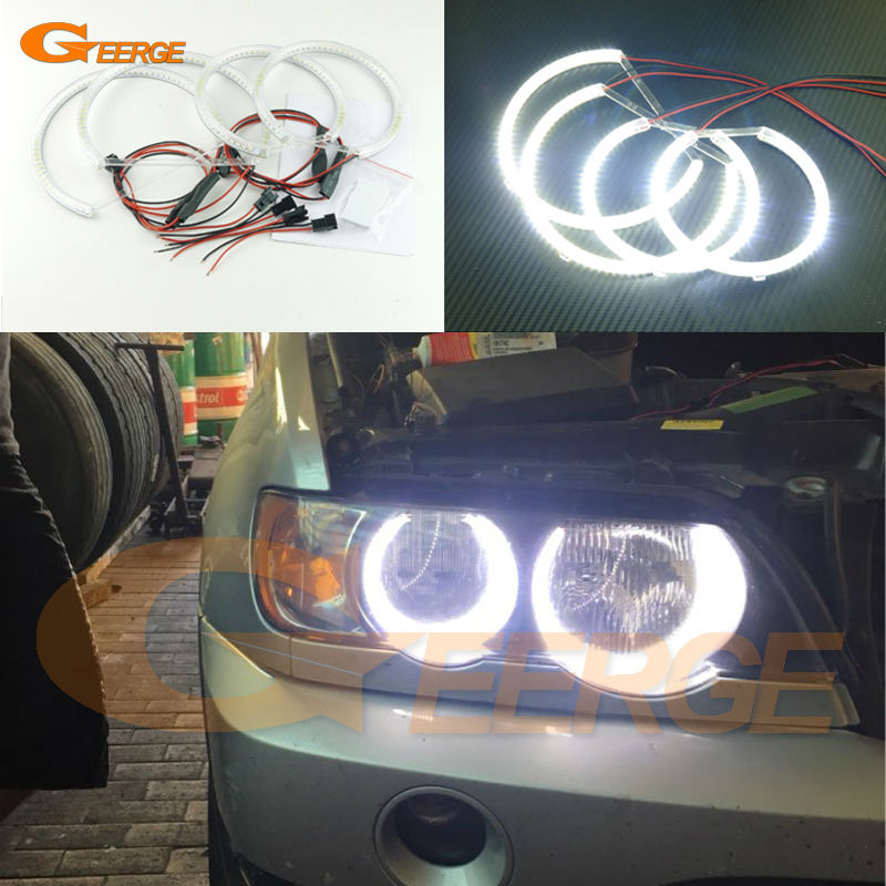 For BMW E53 X5 2000 2001 2002 2003 Excellent Ultra bright illumination smd led Angel Eyes Halo Ring kit for alfa romeo 147 2000 2001 2002 2003 2004 halogen headlight excellent ultra bright illumination ccfl angel eyes kit halo ring