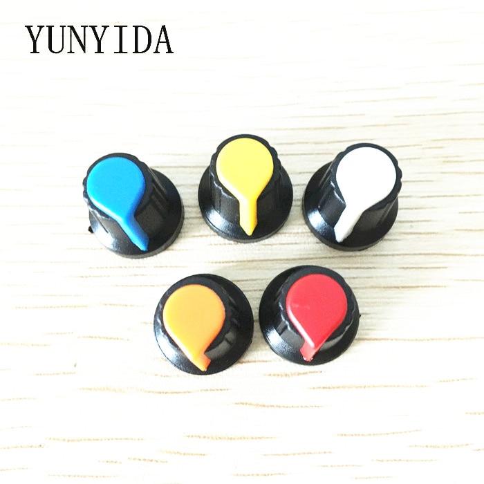 30 шт., колпачки с потенциометром WH148 (медный сердечник), 15x17 мм, AG2, желтый, оранжевый, синий, белый, красный, 5 значений * 6 шт. = 30 шт.