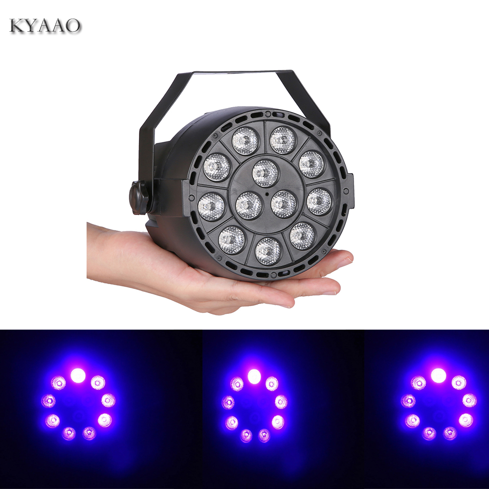 12W UV LED Par Light 90-240V Home Party Colored Stage Lighting Sound Control Dj Background Lights Disco Bar Purple Projector