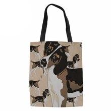 Saco de compras Sacola de Lona Das Mulheres Das Senhoras Bonito Do Cão  Beagle Impresso Sacos de Praia para As Mulheres de Grande. bd1d027fc2e