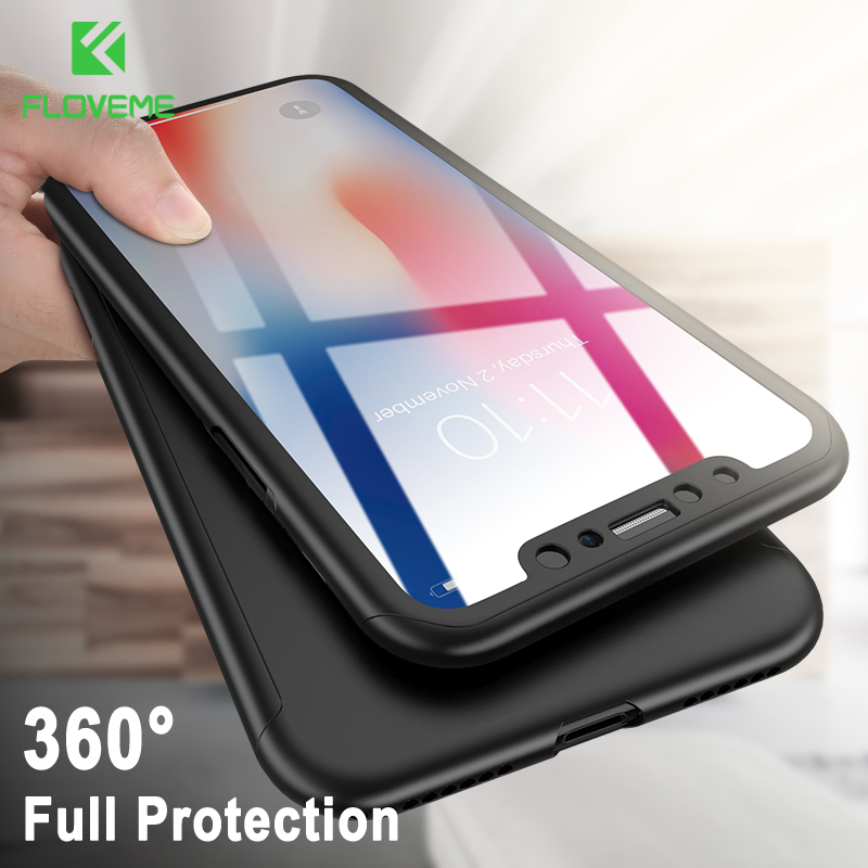 FLOVEME 360 Full Body Case For iPhone 6 6s 7 Plus Ultra Thin For iPhone 7 6 6s Plus With Glass Film Capa For iPhone 5 5s SE Case iPhone XR