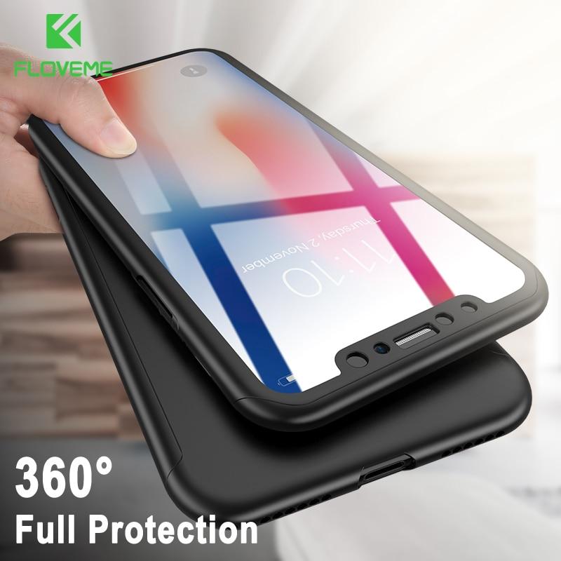 Coque de protection FLOVEME 360 ° pour iPhone XR XS Max X protection complète pour iPhone 7 8 6 6s Plus 5 5s SE avec coque en verre trempé coque iphone 7