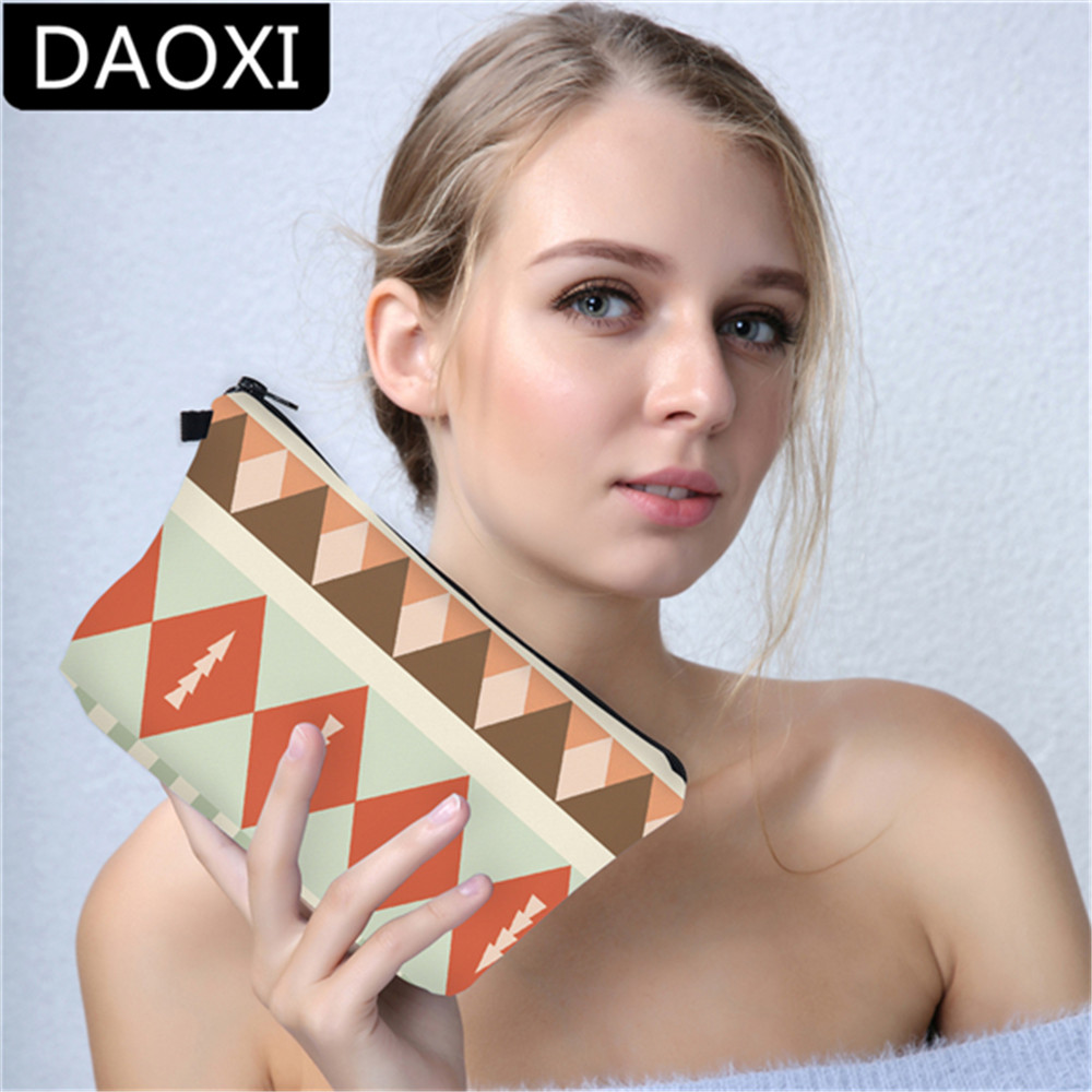 DAOXI Aztec Peach Cosmetic Bag Women Organizer Makeup Bag Cosmetic Case for Travel Storage Neceser Dropshipping travel aluminum blue dji mavic pro storage bag case box suitcase for drone battery remote controller accessories