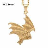Morcego vampiro Colar, New Aço Inoxidável Ouro Bat Asas Charme Colar de Jóias Gótico Halloween Horror Cosplay Para Homens Dos Meninos