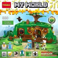 Decool 830 705pcs My World Forest Jungle Ancient House With Light bricks Building Block Compatible Legoed Minecrafted toys set