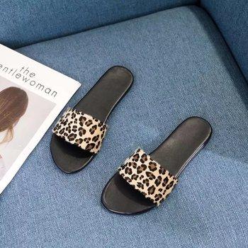 Women Summer Slippers Slides Shoes Leopard Leather Flip Flops Female Outdoor Fashion Slip On
