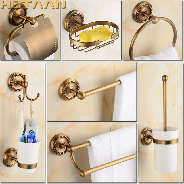 Free shipping Solid Brass Bathroom Accessories Set,Robe hook,Paper ...