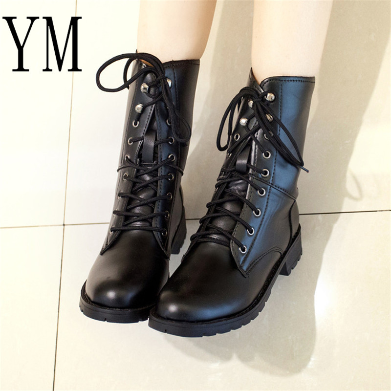2019 New Arrival Combat Military Boots Women's Motorcycle Gothic Punk Combat lovers Boots Female Shoes Size 35-42