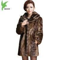 בוטיק נשים חורף מינק מעילי מעיל פרווה חדש בתוספת גודל אורך בינוני עבה חם פו פרווה מוצרי הלבשה תחתונה Slim מעיילי פרווה OKXGNZ1280