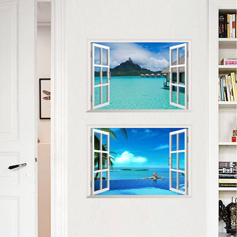 3D Window Space Landscape Wall Stickers For Home Decor Living Room Bedroom Decoration Castle Sea Mural PVC Art Decals