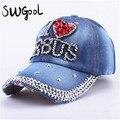 SWGOOL бейсболки 2017 мода высокого качества hat Для женщин ИИСУС письмо регулируемая крышка хлопка горный хрусталь Denim cap hat
