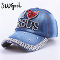 SWGOOL Baseball caps 2017 fashion high quality hat For women JESUS letter adjustable cotton cap rhinestone Denim cap hat