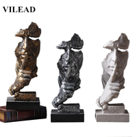 VILEAD Resin 33cm Silence is Gold Mask Miniatures Figurines Abstract Silence Ornament Statuettes Mask Sculpture for Home Decor