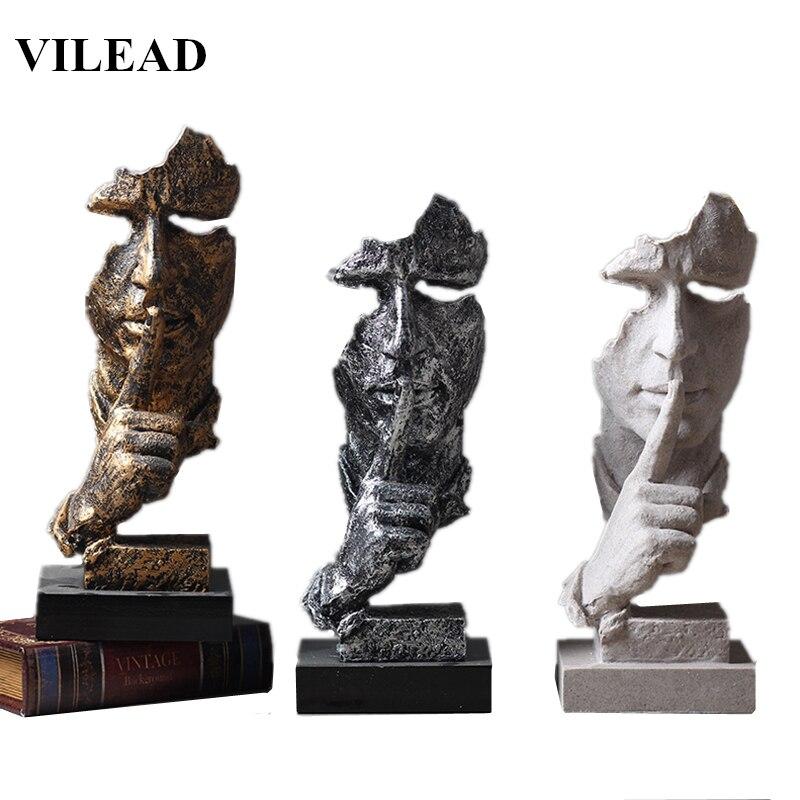 VILEAD résine 13.5 ''Silence est masque d'or Miniatures Figurines abstraite Silence ornement Statuettes masque Sculpture pour la décoration intérieure