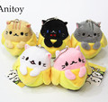 5pcs/lot Cartoon Cute Lovely Pusheen Cat Peeling Banana 8cm Plush Dolls with Chain Stuffed Soft Toys Kids Gift Pendants AP0087