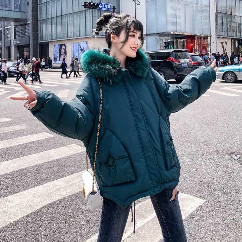 Fitaylor новые женские зимние пальто Белые парки на утином пуху большой воротник из натурального меха куртки с капюшоном на молнии средний размер длинное Свободное пальто верхняя одежда