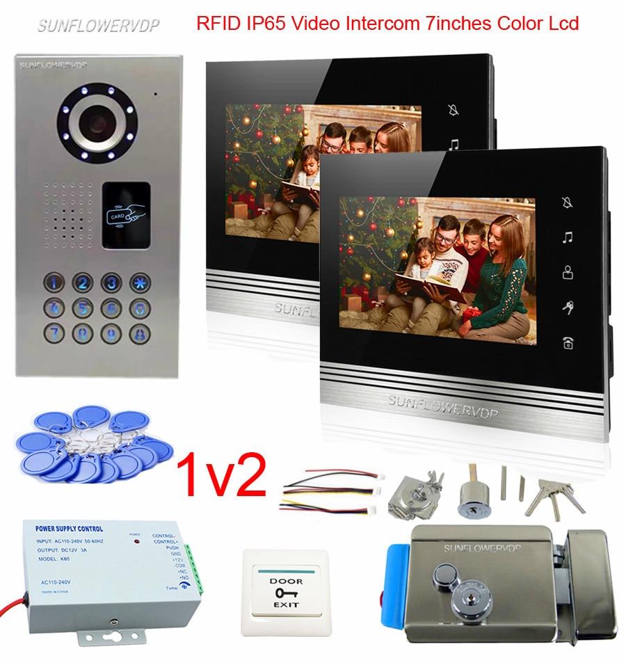 2 Appartements Rfid Clavier Caméra Sonnette IP65 Étanche Vidéo Interphone Système 7 Tactile Boutons Moniteur Sonnette Vidéo + Serrure