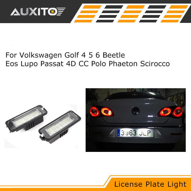 2PCS LED Light Number License Plate Lights lamps for Volkswagen VW Beetle Eos Golf 4 5 6 Lupo Passat 4D CC Polo Phaeton Scirocco