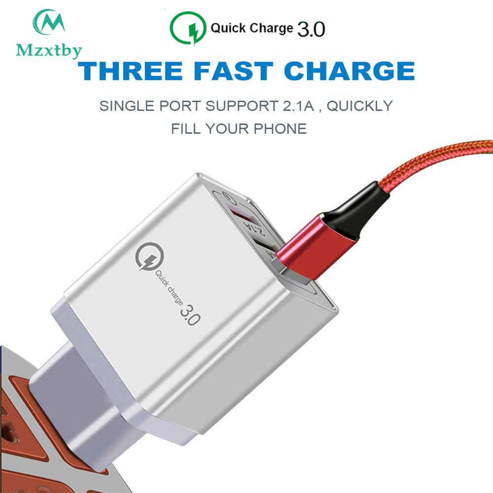 QC3.0 18 W 3 USB سريعة تهمة 5V3A المملكة المتحدة الاتحاد الأوروبي الولايات المتحدة التوصيل شاحن سريع شحن ل فون سامسونج هواوي شياو mi mi باد فيفو ممن لهم الأحمر mi