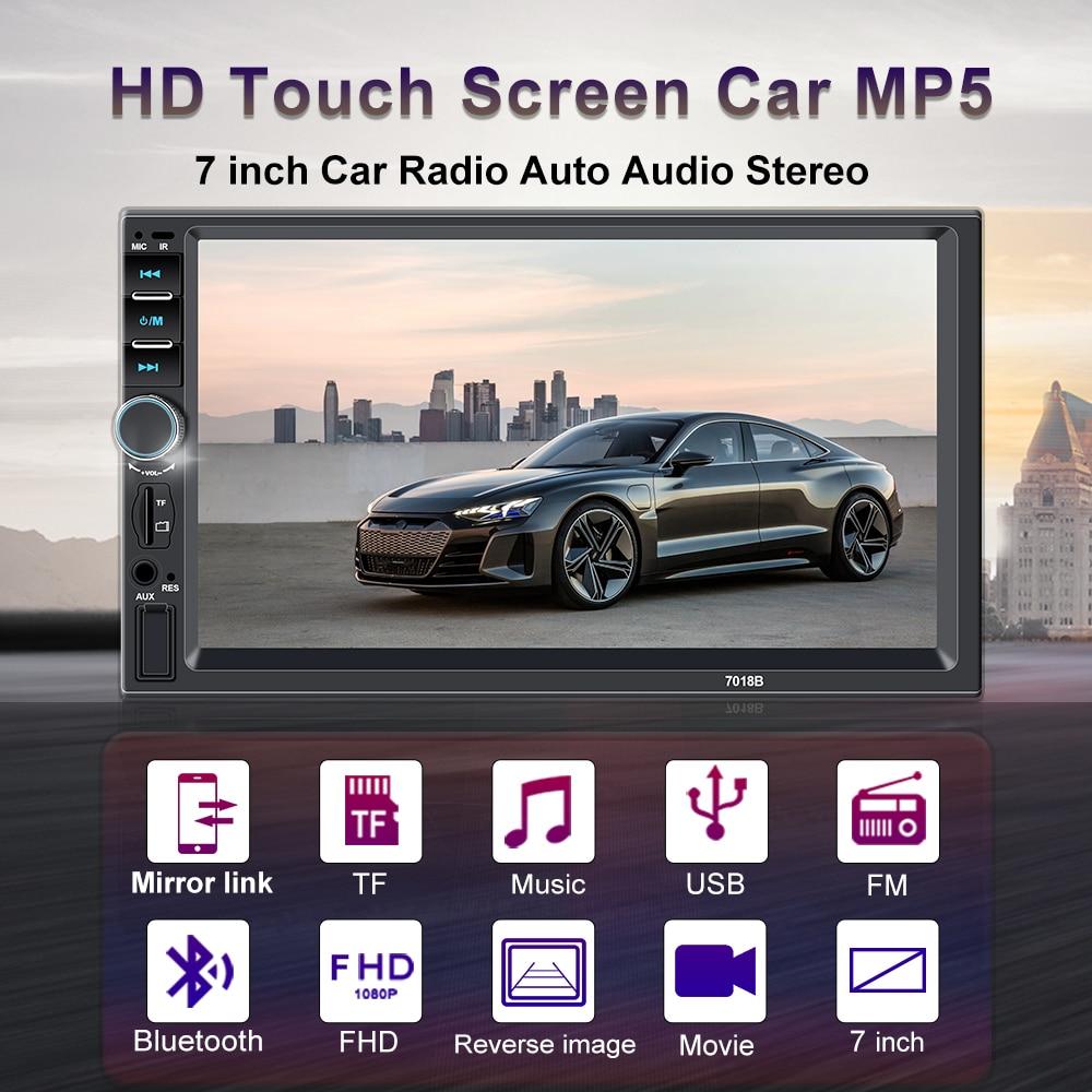 Autoradio 2 din Enregistreur de cassette Autoradio HD 7 Écran tactile 7018B  Audio de voiture Bluetooth Vue arrière caméra MP5 Multimidio Player
