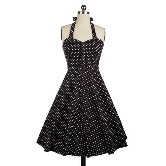 Sans manches Halter Vestidos Vintage Rockabilly Swing Robe Pin Up Polka Dot Dress Vêtements D'été Casual Dress 50 s Style