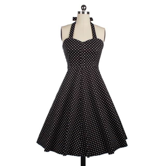 Sans manches Halter Vestidos Vintage Rockabilly Swing Robe Pin Up Polka Dot Dress Vêtements D'été Casual Dress 50 s Style