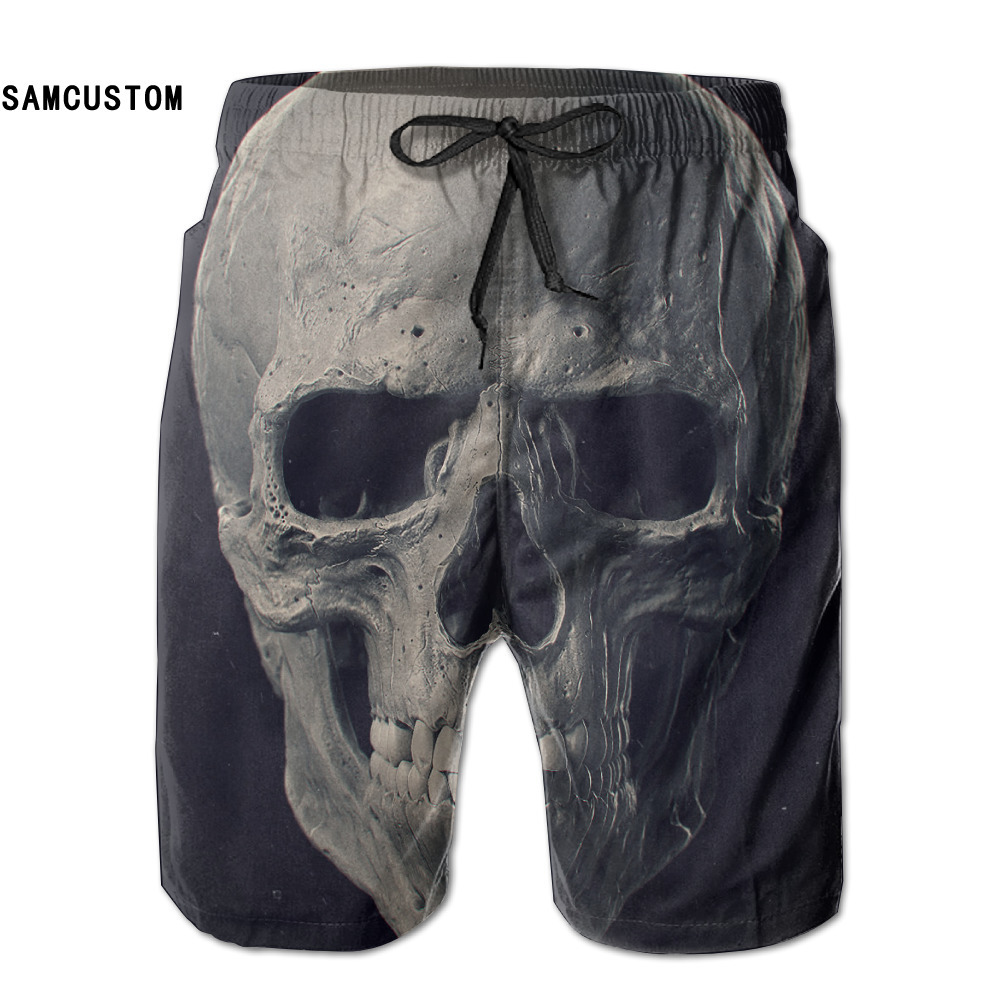 SAMCUSTOM summer mens perspiration quick dry ultra-light breathable Personalized creative 3D printing skull beach shorts