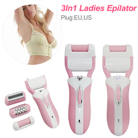 Electric epilator rechargeable foot grinder three in one multi function female body facial hair removal female plucking device