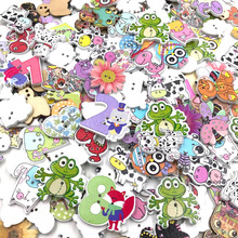 50 pcs Mixed Animal Wood Sewing Buttons Scrapbooking Owl/Gog/Bird/Flowers WB421
